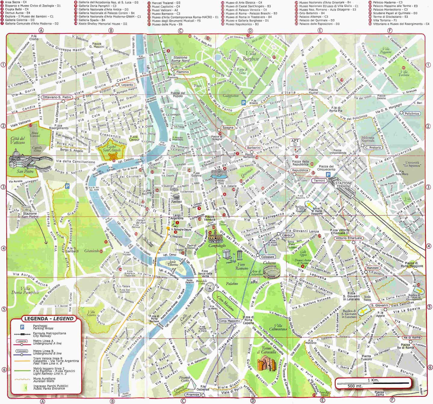 Maps of Rome Italy Roma Italia Maps Goparoo – Rome Tourist Attractions Map