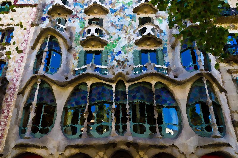 Gaudi facade of house architecture